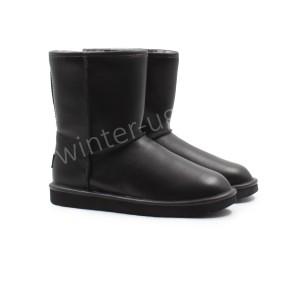 Угги Кожаные Classic Short - Black