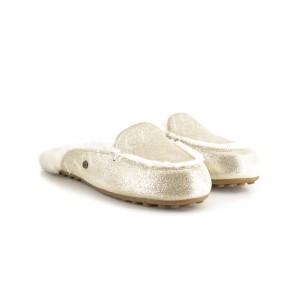 Меховые Тапочки Lane Slip On Metallic Loafer - Platinum Gold