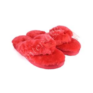 Меховые Вьетнамки Fluff flip flop - Red