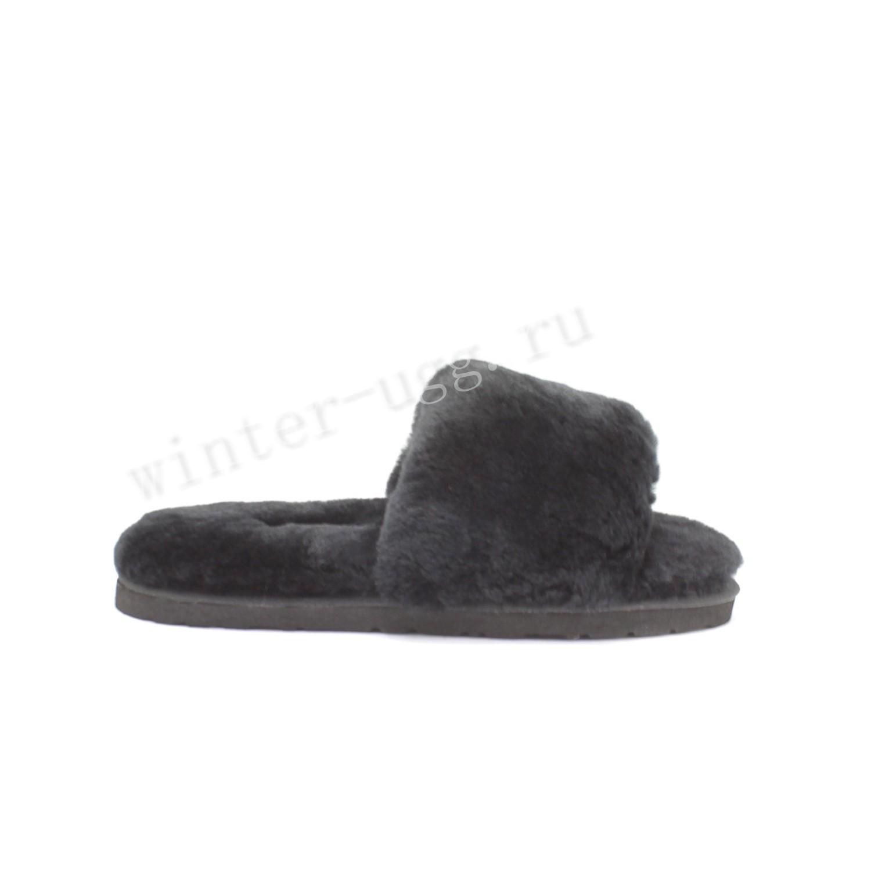 Меховые Тапочки FLUFF Slides - Black