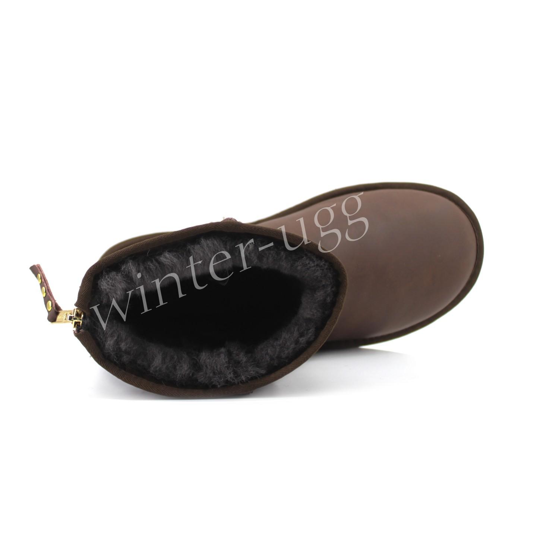 Мужские Угги Средние Кожаные  One Zip -Black