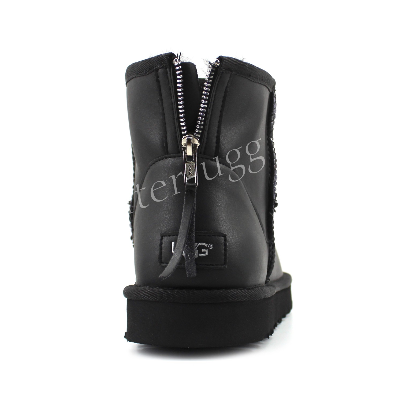 Мужские Угги Мини Кожаные Zip - Black