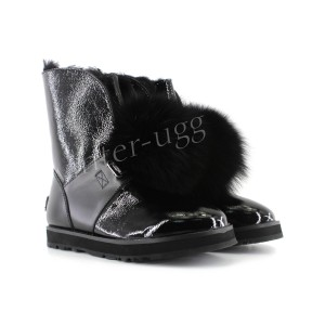 Isley Patent  Waterproof Boot - Black
