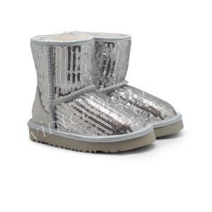 Детские Угги c Пайетками - Silver