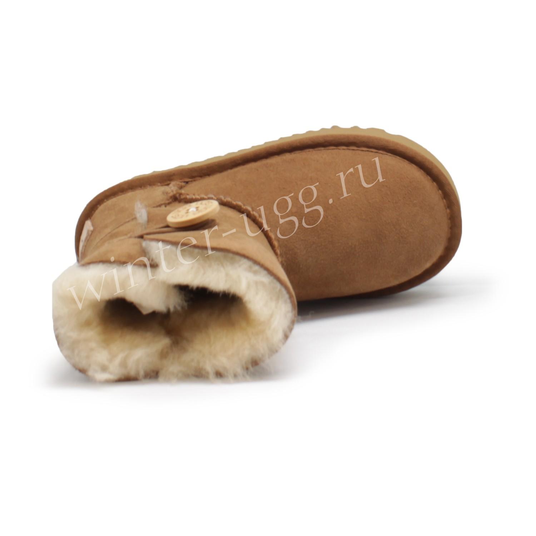 Детские  Угги Непромокаемые с Пуговицей - Chestnut