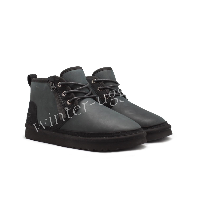 Мужские Кожаные Ботинки Neumel Zip - Black TNL